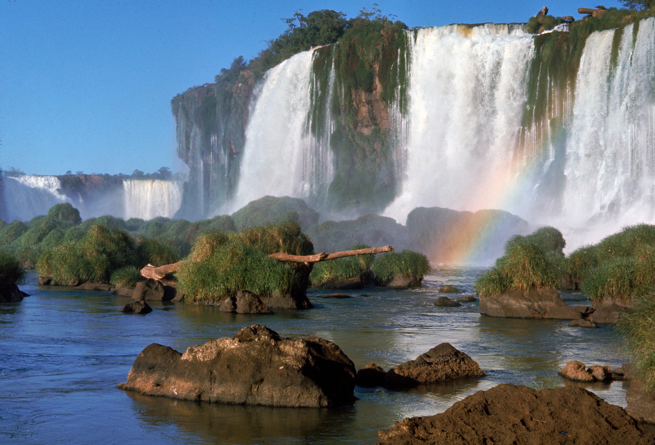Waterfall named Iguassu or Iguacu Falls, formerly known as Santa Maria Falls, on the Brazil-Argentina border. 1960.