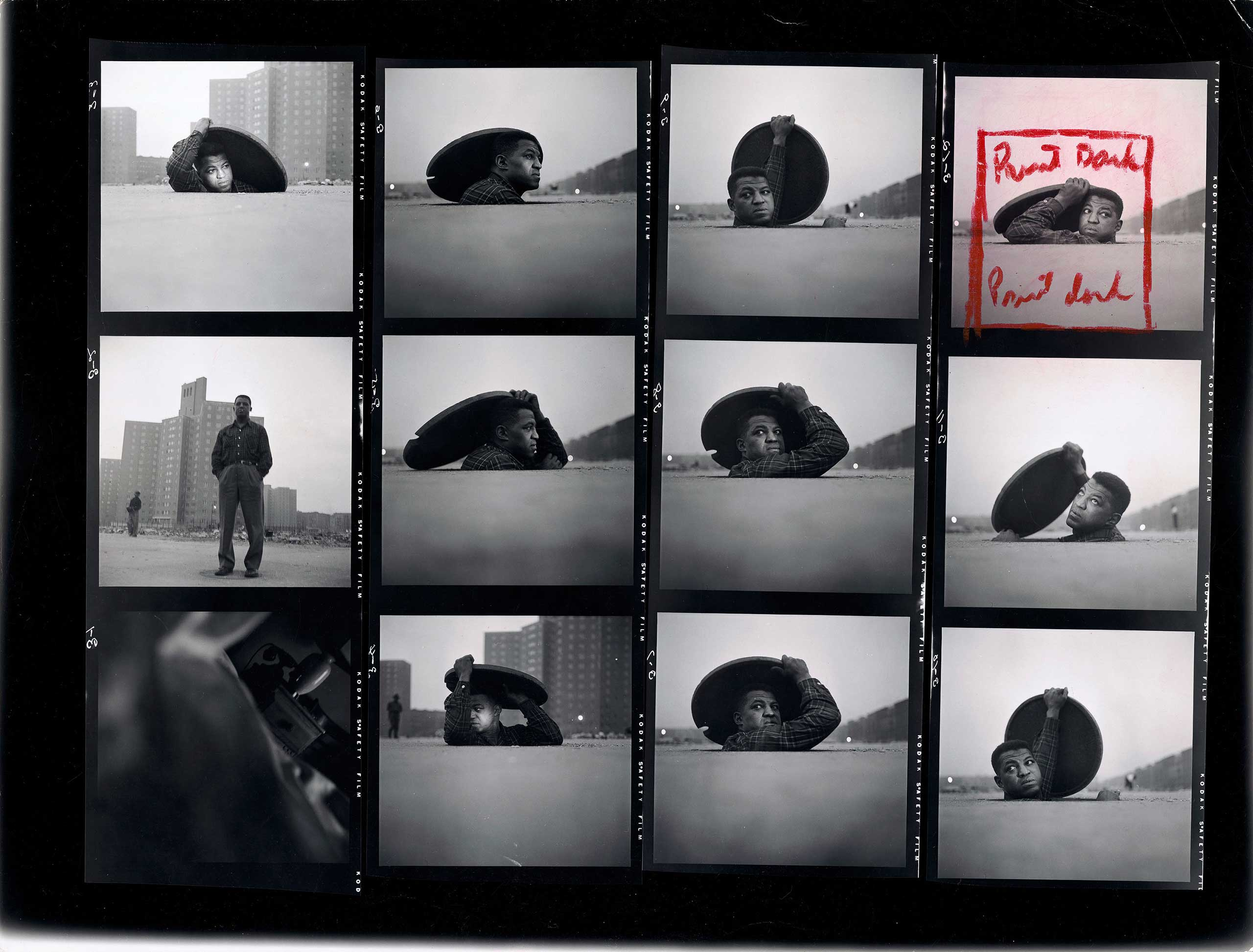 "Contact Sheet, ""A Man Becomes Invisible,"" Life story no. 36997, 1952."