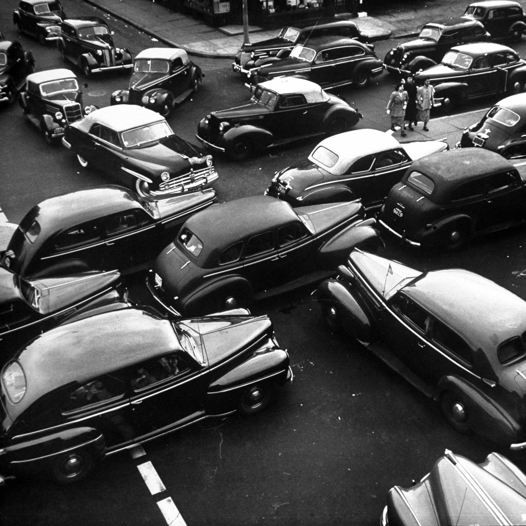 Traffic jams on Memorial Day weekend in 1949.