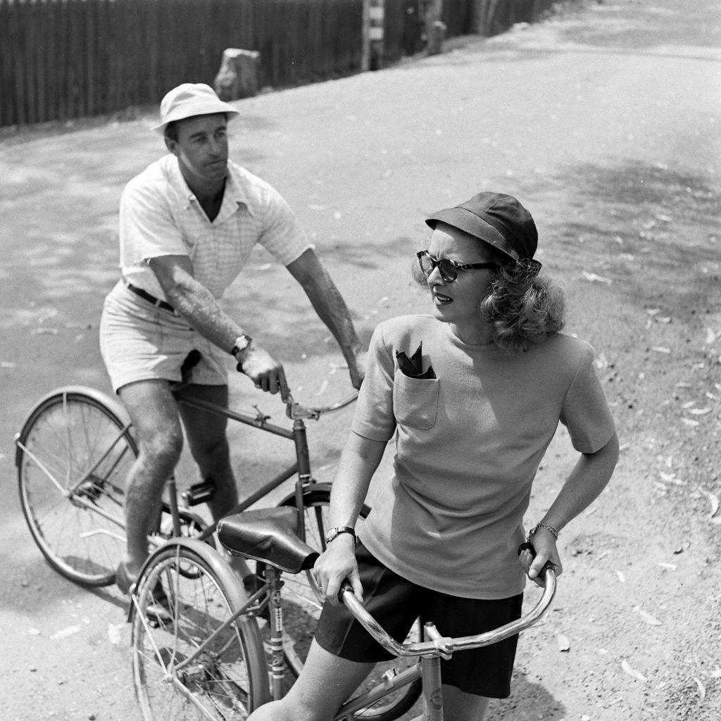 Bette Davis and her third husband William Grant Sherry bike riding in California, 1947.
