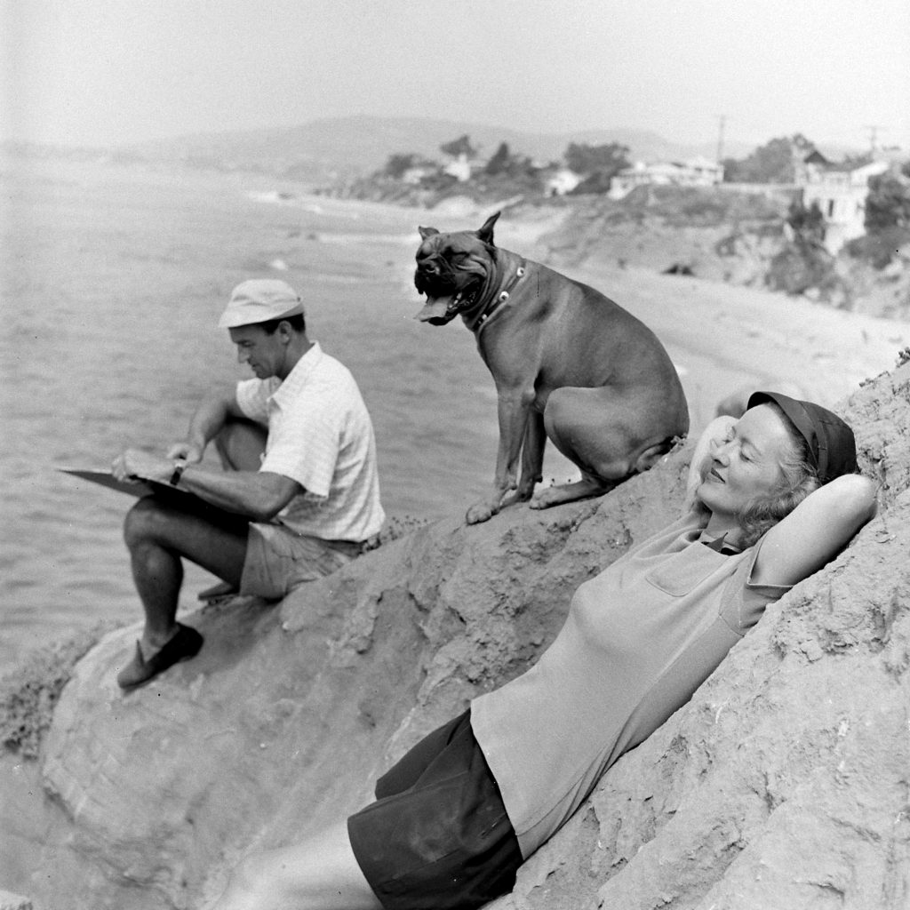 Bette Davis and her third husband, William Grant Sherry, at the beach in California, 1947.