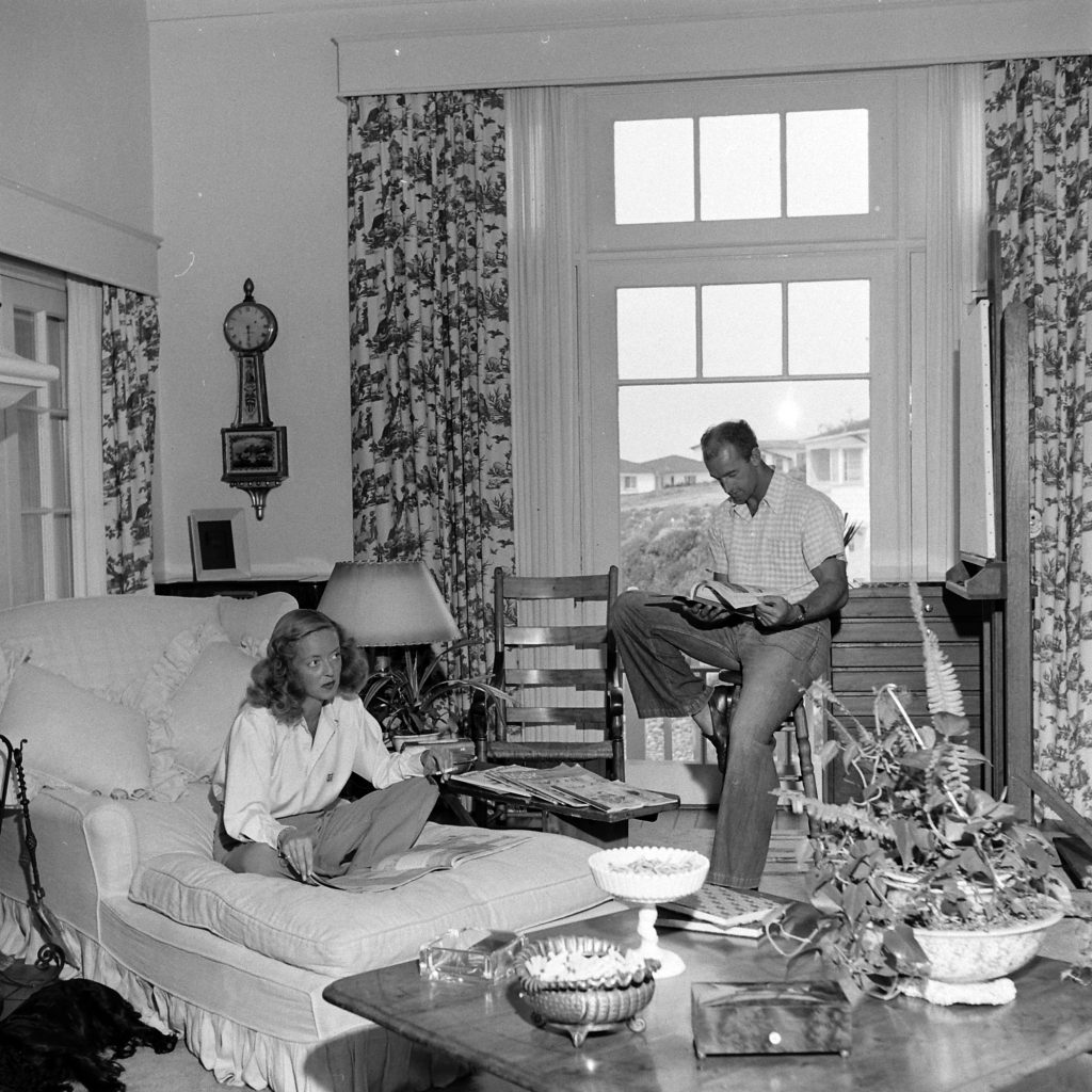 Bette Davis and her third husband, William Grant Sherry at home in California, 1947.