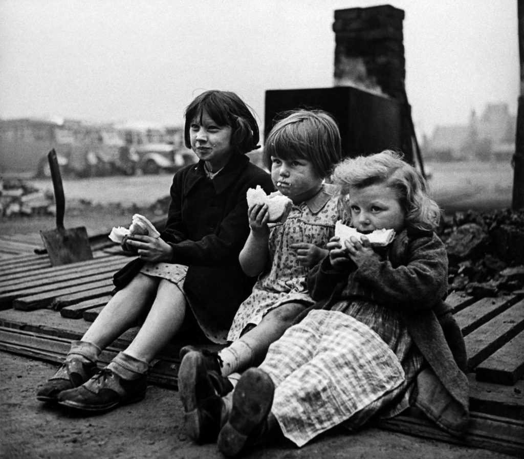 Children in blitzed north of England, 1940.