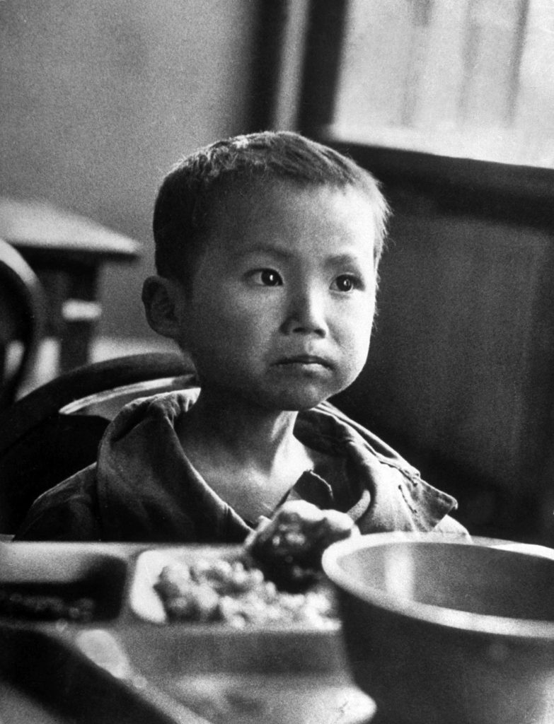 Koo Ri Kang, a Korean war orphan who would not smile in South Korea, 1951.