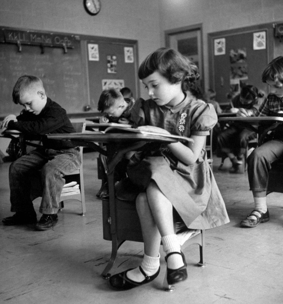 Children hard at work at school in Iowa, 1954.