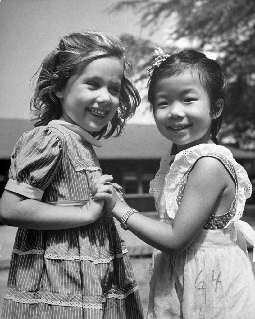 Kindergarten children playing in Hawaii, 1945.