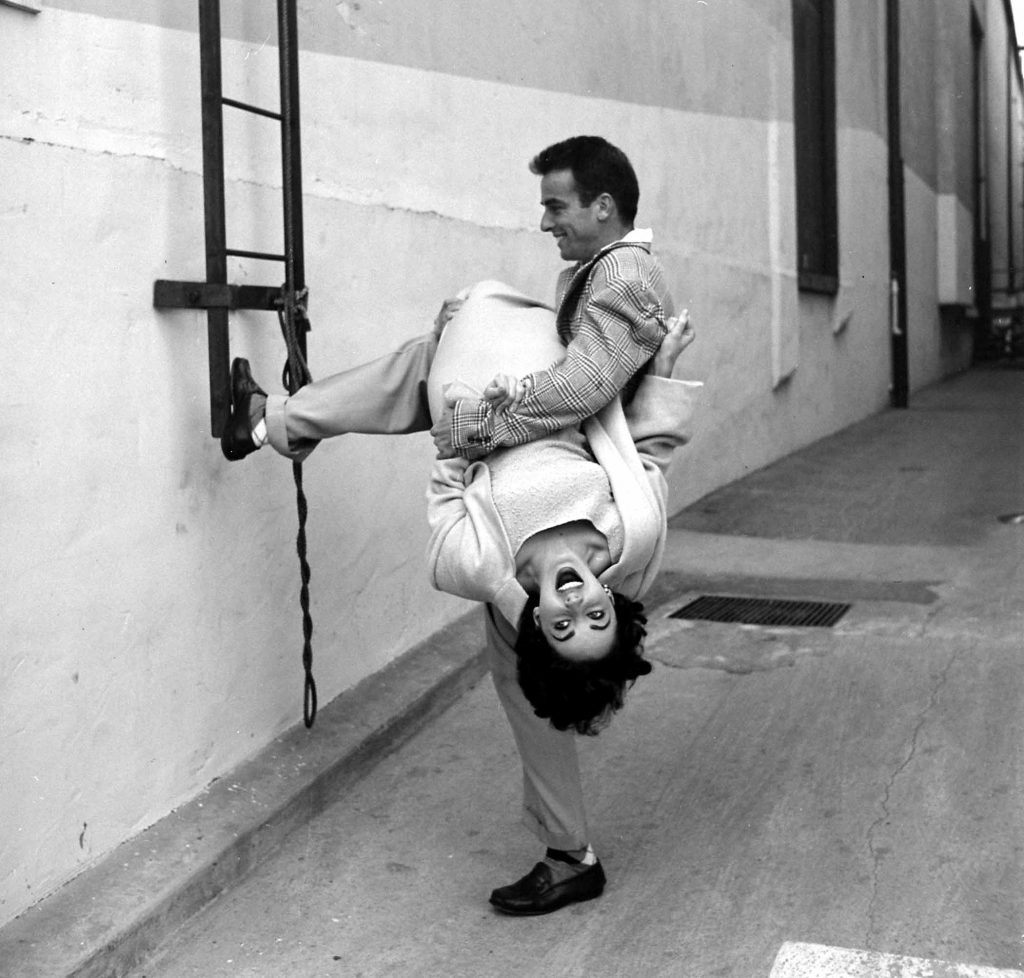 Good friends Elizabeth Taylor and Montgomery Clift having fun on a studio lot, 1950.