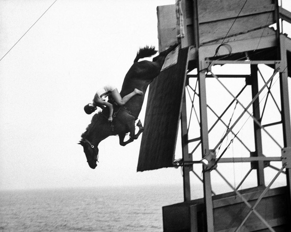 In mid air the horse sails gracefully toward the tank, 1953.