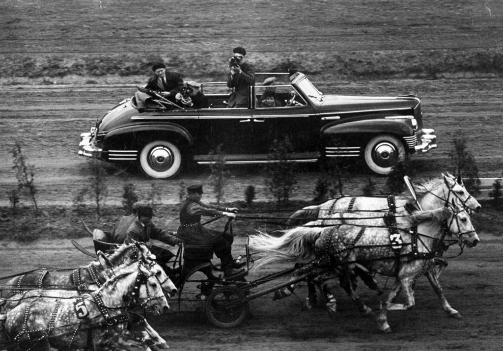Harness racing at All-Russia horse show at the Hippodrome, 1958.