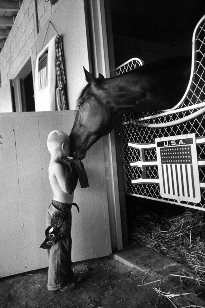 Trader Horn nuzzling young friend in stall at Roosevelt Raceway, 1959.